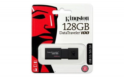 "Pendrive, 128GB, USB 3.0, KINGSTON ""DT100 G3"", fekete"