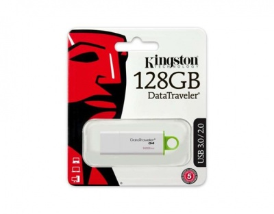 "Pendrive, 128GB, USB 3.0, KINGSTON ""DTI G4"", zöld"