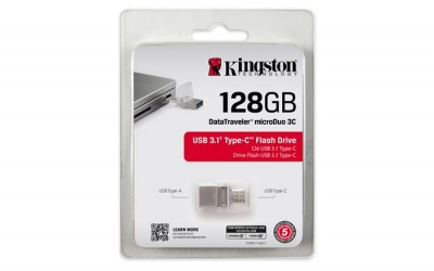 "Pendrive, 128GB, USB 3.1, USB-C, 100/15 MB/s, KINGSTON ""MicroDuo 3C"""