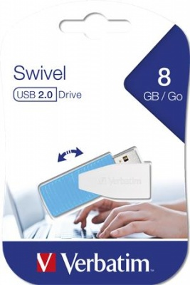 "Pendrive, 8GB, USB 2.0, 8/2MB/sec, VERBATIM ""Swivel"", kék"